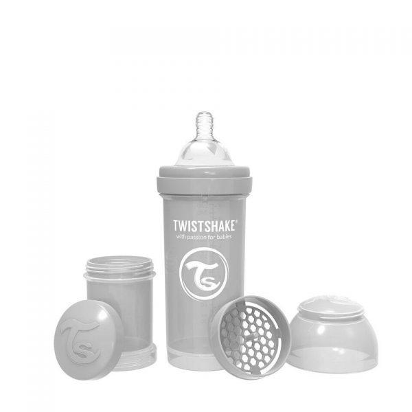 Антиколиковая бутылочка Twistshake для кормления 260 мл. Пастельный серый