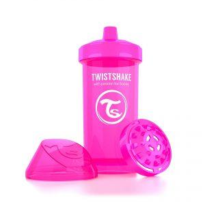 Поильник Twistshake 360 мл. Сумасшедшая обезьянка (розовый). Возраст 12+m