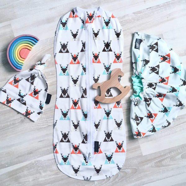 Пеленальный кокон MamaPapa Олени в треугольниках