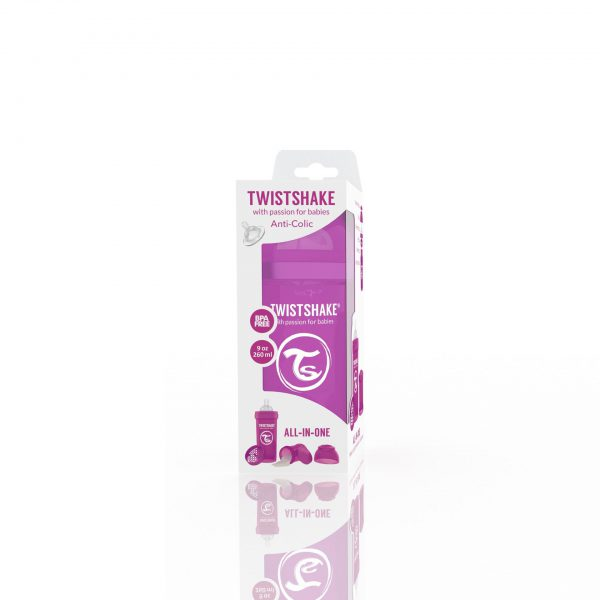 Антиколиковая бутылочка 260 мл. Twisthake для кормления Фиолетовая Bestie