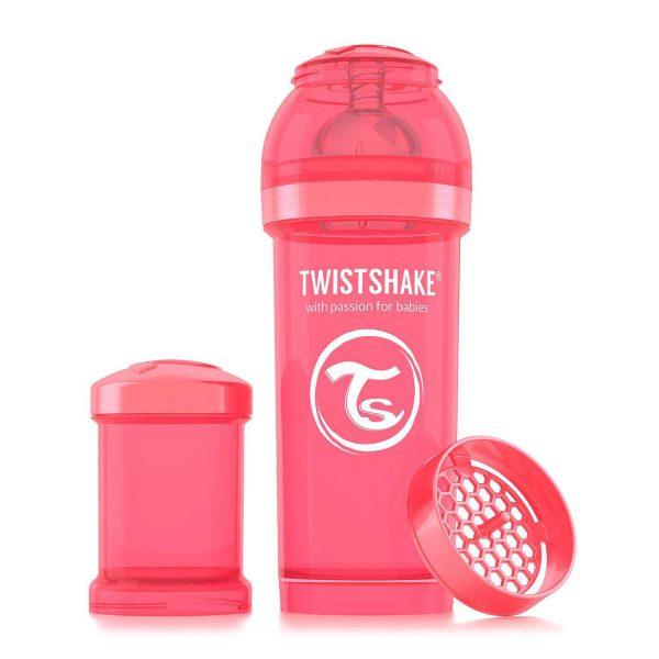 Антиколиковая бутылочка 260 мл. Twisthake для кормления Персиковая Dreamcatcher