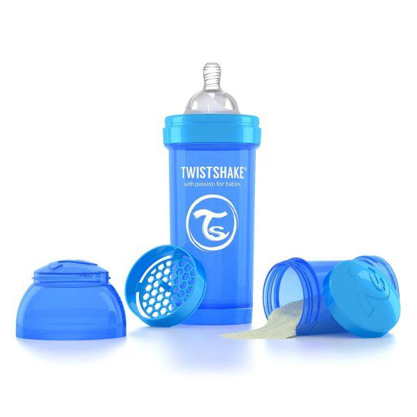 Антиколиковая бутылочка 260 мл. Twisthake для кормления Синяя Cookiecrumb