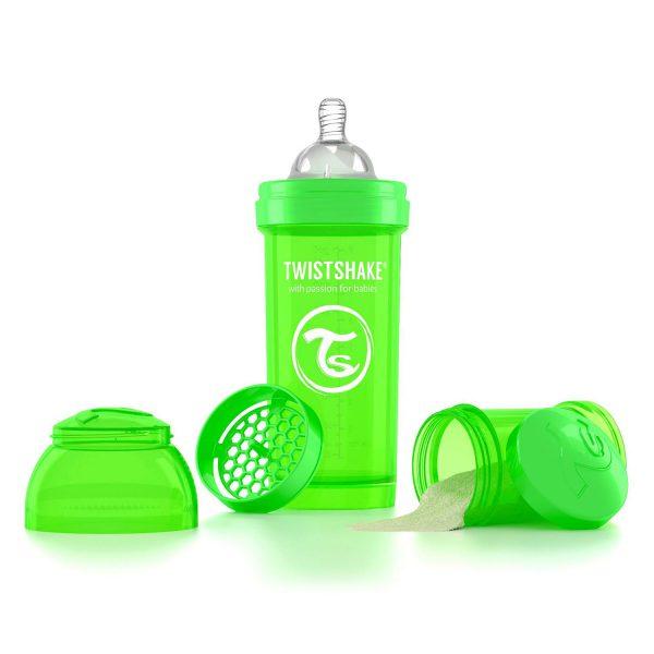 Антиколиковая бутылочка 260 мл. Twisthake для кормления Зелёная Sugarpuss