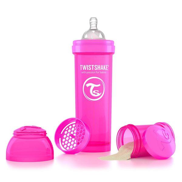 Бутылочка для кормления Twisthake 330 мл. розовая