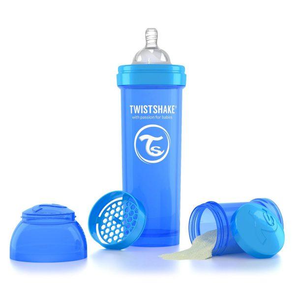Антиколиковая бутылочка 330 мл. Twisthake для кормления Синяя Cookiecrumb