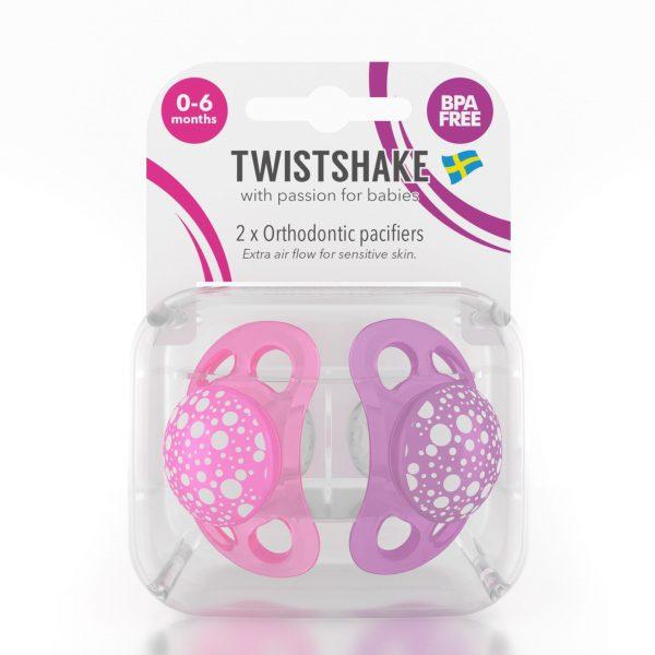 Пустышка Twistshake (2 шт). Розово-фиолетовая 0-6 m