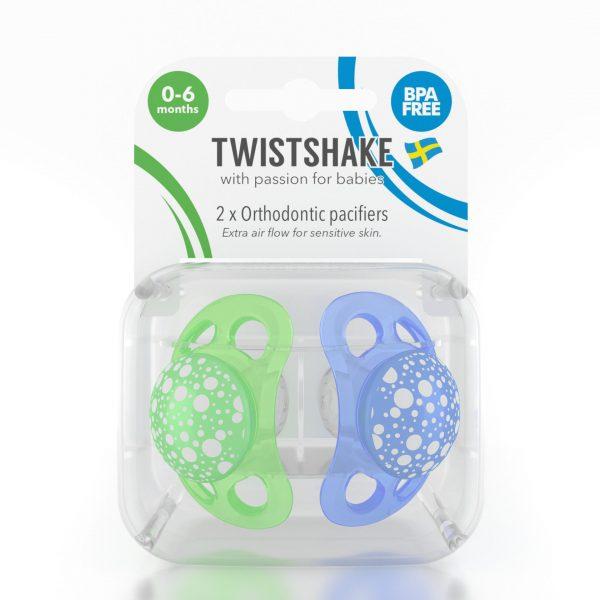 Пустышка Twistshake (2 шт). Сине-зелёная 0-6 m