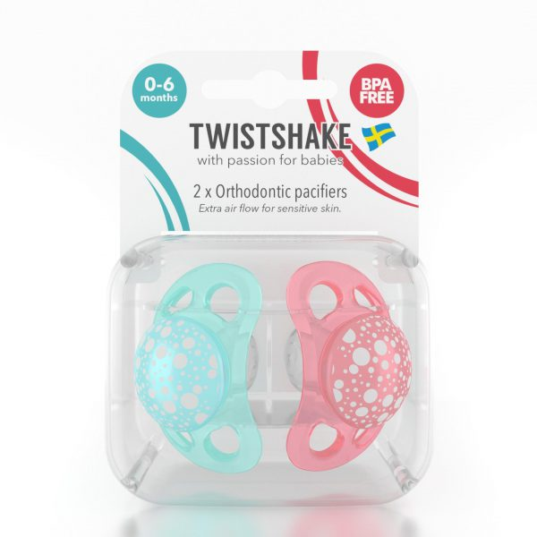 Пустышка Twistshake (2 шт). Бирюзово-персиковая 0-6 m