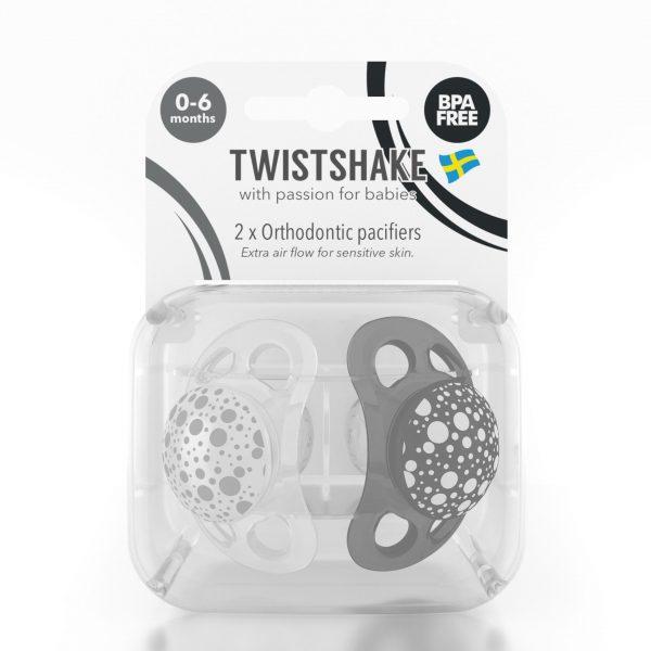 Пустышка Twistshake (2 шт). Чёрно-белая 0-6 m