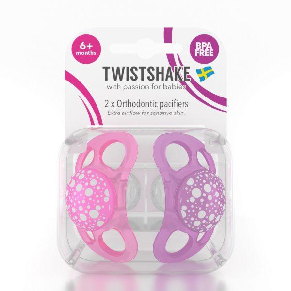 Пустышка Twistshake (2 шт). Розово-фиолетовая 6+m