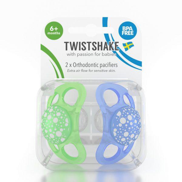 Пустышка Twistshake (2 шт). Сине-зелёная 6+m
