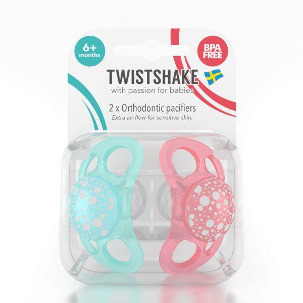 Пустышка Twistshake (2 шт). Бирюзово-персиковая 6+m