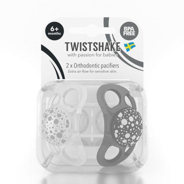 Пустышка Twistshake (2 шт). Чёрно-белая 6+m