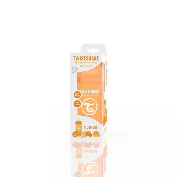 Антиколиковая бутылочка 260 мл. Twisthake для кормления Оранжевая Sunbeam