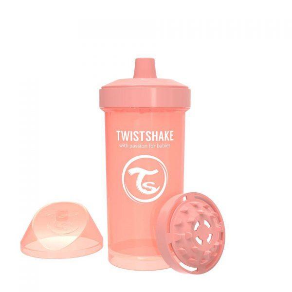 Поильник Twistshake 360 мл. Пастельный персиковый Возраст 12+m