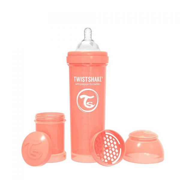 Антиколиковая бутылочка Twistshake для кормления 330 мл. Пастельный персиковый