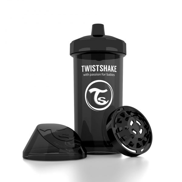 Поильник Twistshake 360 мл. Супергерой (чёрный). Возраст 12+m