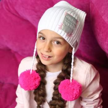 Шапка Fishka D4-987, цвет: Белый/ярко-розовый
