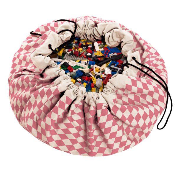 2 в 1 мешок для хранения игрушек и игровой коврик Play & Go. Коллекция Print Розовый бриллиант