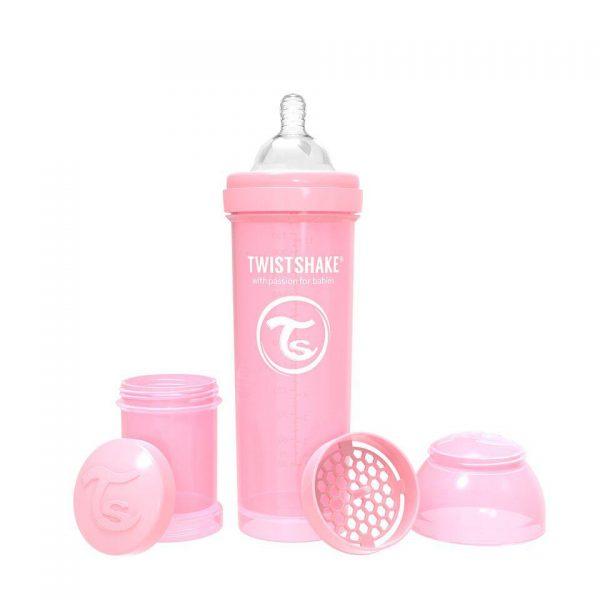Антиколиковая бутылочка Twistshake для кормления 330 мл. Пастельный розовый