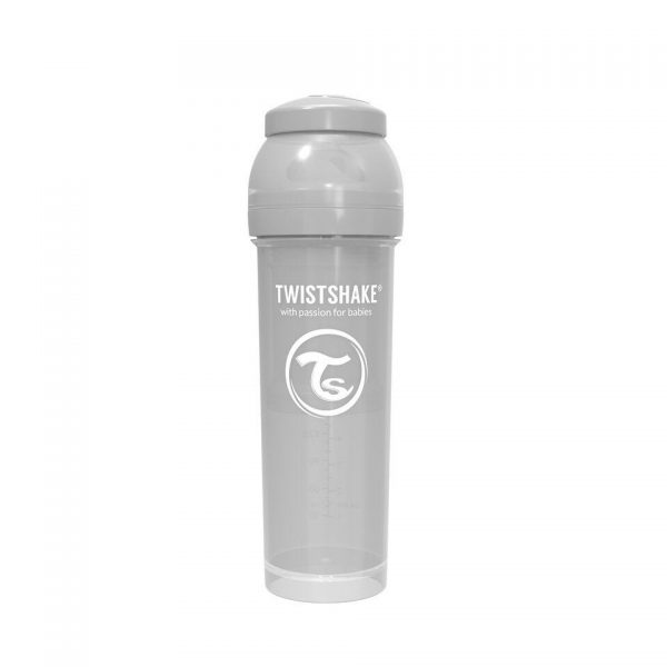 Антиколиковая бутылочка Twistshake для кормления 330 мл. Пастельный серый
