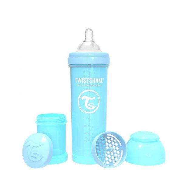 Антиколиковая бутылочка Twistshake для кормления 330 мл. Пастельный синий