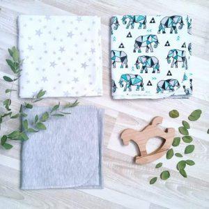 Сет из 3х пеленок MamaPapa Слоники Оригами/Звезды/Серый меланж