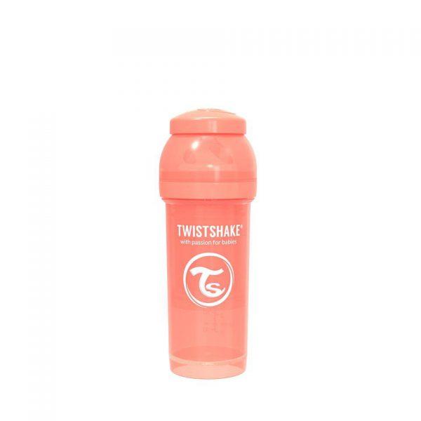 Антиколиковая бутылочка Twistshake для кормления 260 мл. Пастельный персиковый