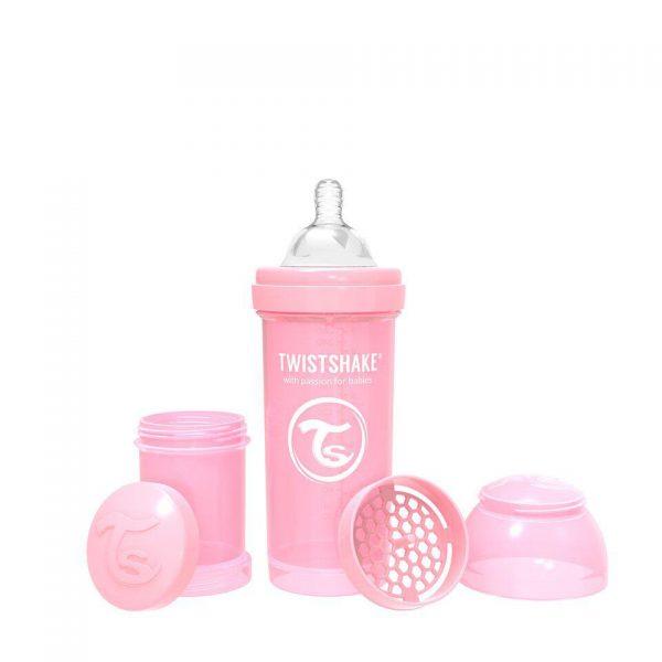 Антиколиковая бутылочка Twistshake для кормления 260 мл. Пастельный розовый
