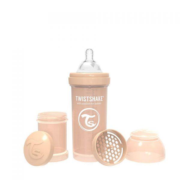 Антиколиковая бутылочка Twistshake для кормления 260 мл. Пастельный бежевый