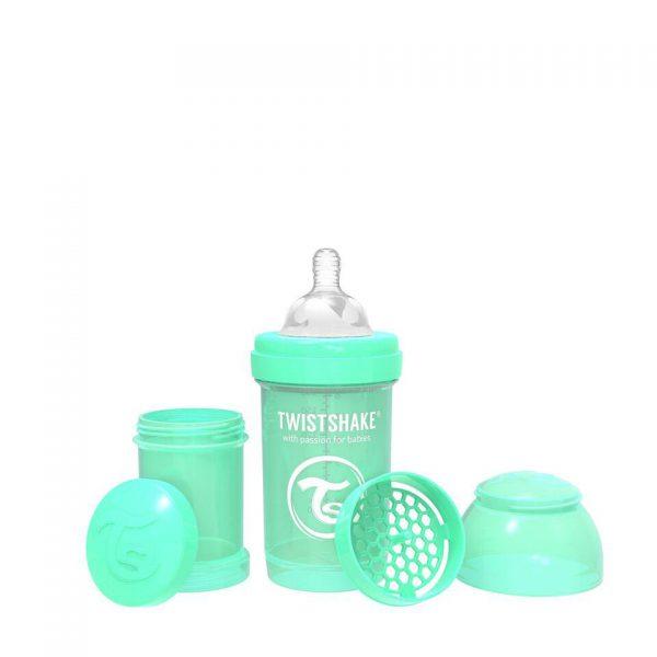 Антиколиковая бутылочка Twistshake для кормления 180 мл. Пастельный зелёный