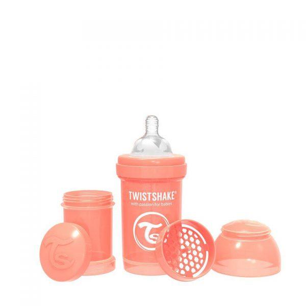 Антиколиковая бутылочка Twistshake для кормления 180 мл. Пастельный персиковый