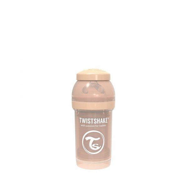 Антиколиковая бутылочка Twistshake для кормления 180 мл. Пастельный бежевый