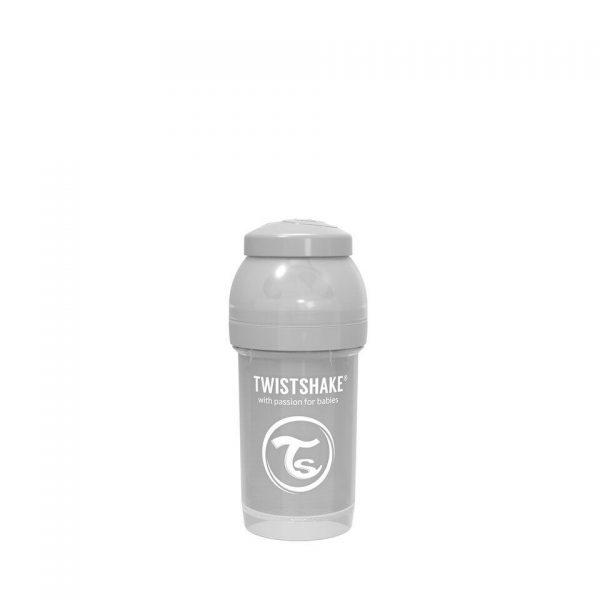 Антиколиковая бутылочка Twistshake для кормления 180 мл. Пастельный серый