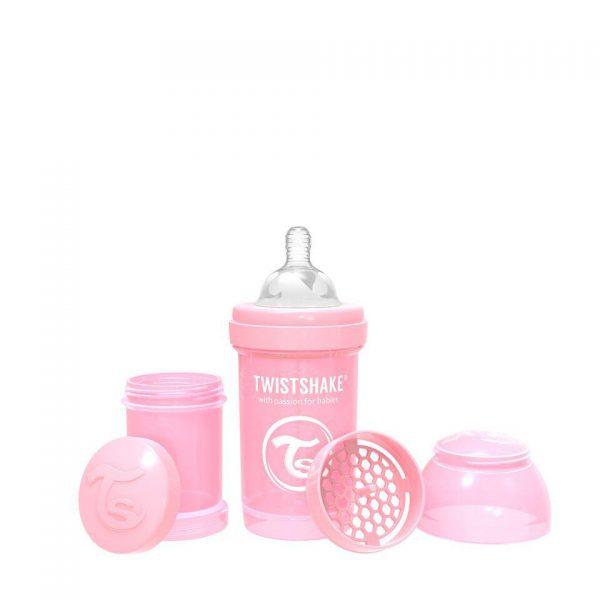 Антиколиковая бутылочка Twistshake для кормления 180 мл. Пастельный розовый