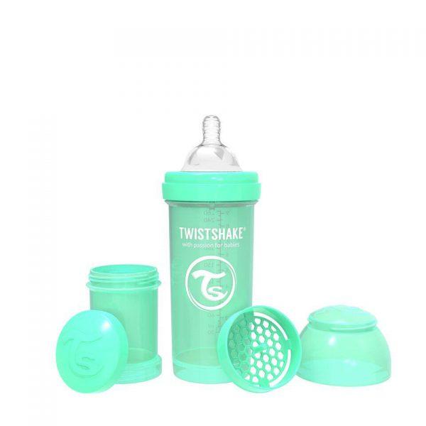 Антиколиковая бутылочка Twistshake для кормления 260 мл. Пастельный зелёный