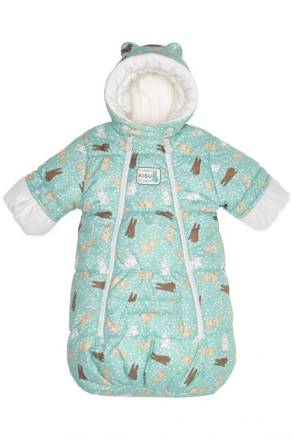 Конверт для новорожденных Kisu зайчики бирюзовый