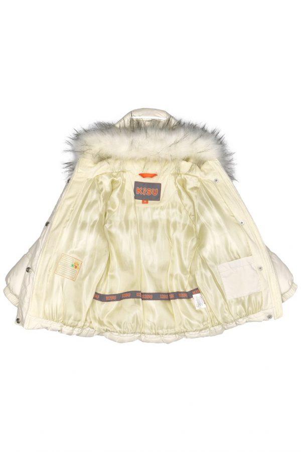 Зимний костюм для девочки KISU 92,98 молочный