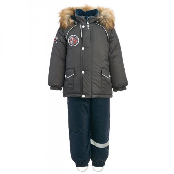 Зимний костюм для мальчика KISU 92 серый