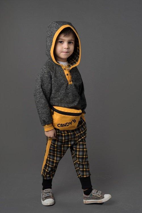 Брюки-йоги для мальчика CANDYS черный/охра