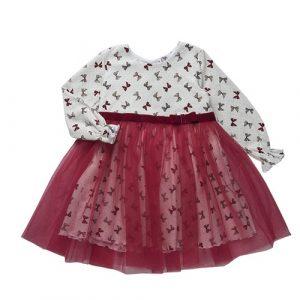 Платье для девочки CANDYS молоко/бордо