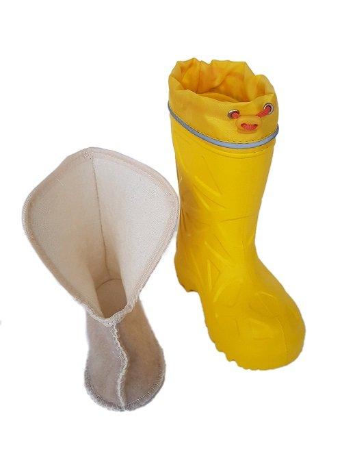 Детские сапоги ЭВА Каури желтые с хлопковым вкладышем