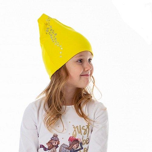 Шапка детская трикотажная HOHLOON жёлтая/звёзды