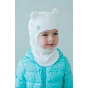 Шапка-шлем для девочки молочный