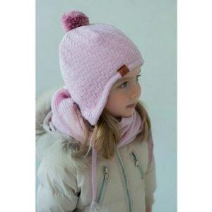 Шапка детская на завязках розовая