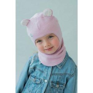 Шапка-шлем для девочки розовый