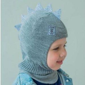 Шапка-шлем детская Дракон серый