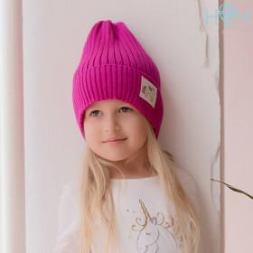 Шапка для девочки Единорог малиновый