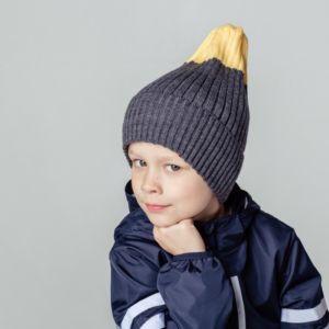 Шапка для мальчика серый/желтый