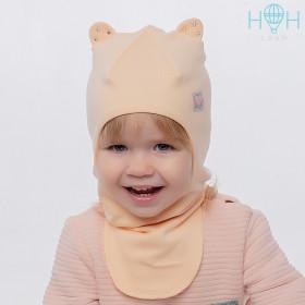 Шапка-шлем трикотажная HOHLOON персик